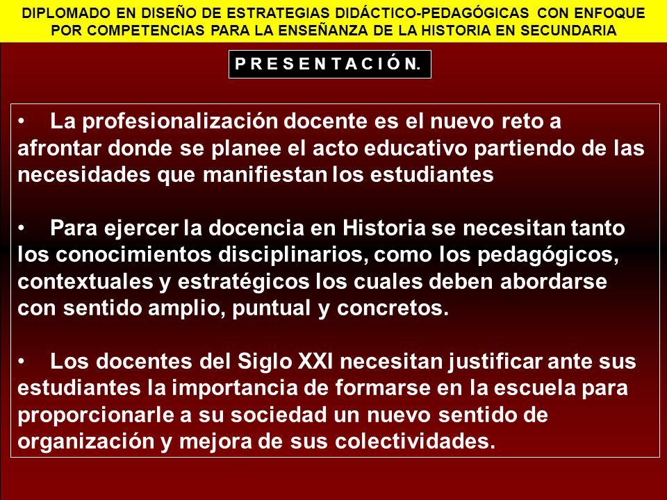 DIPLOMADO EN DISEÑO DE ESTRATEGIAS DIDÁCTICO-PEDAGÓGICAS CON ENFOQUE POR COMPETENCIAS PARA LA ENSEÑANZA DE LA HISTORIA EN SECUNDARIA