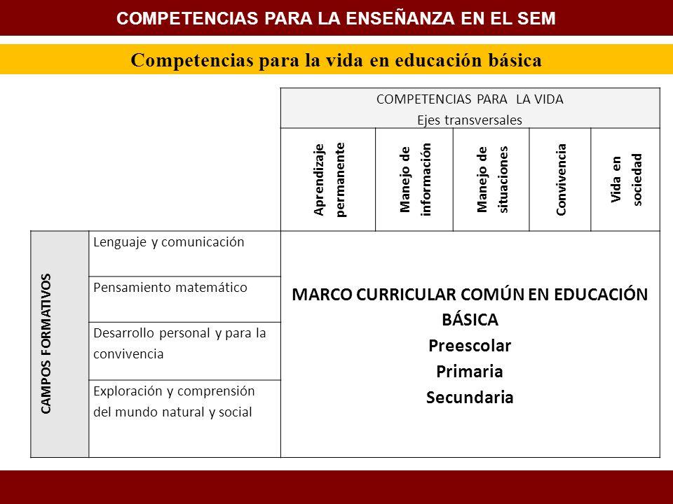 Competencias para la vida en educación básica