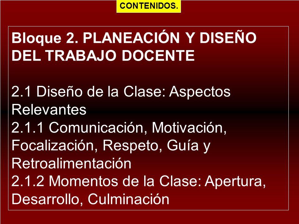 Bloque 2. PLANEACIÓN Y DISEÑO DEL TRABAJO DOCENTE