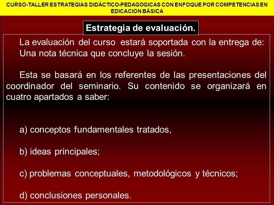 Estrategia de evaluación.