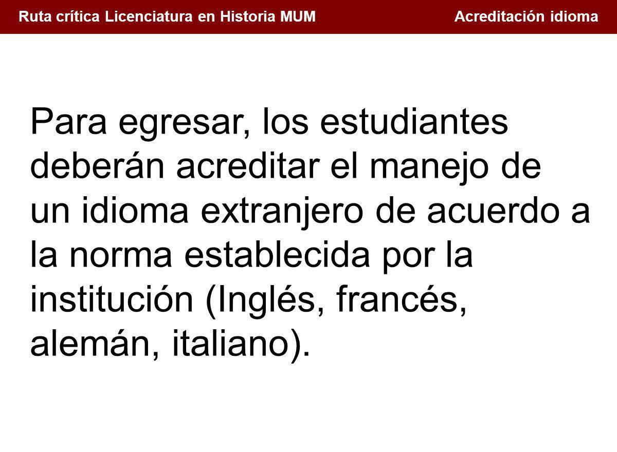 Ruta crítica Licenciatura en Historia MUM Acreditación idioma