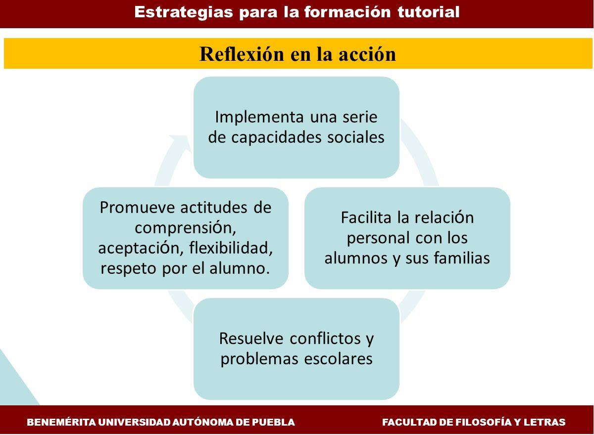 Reflexión en la acción Estrategias para la formación tutorial