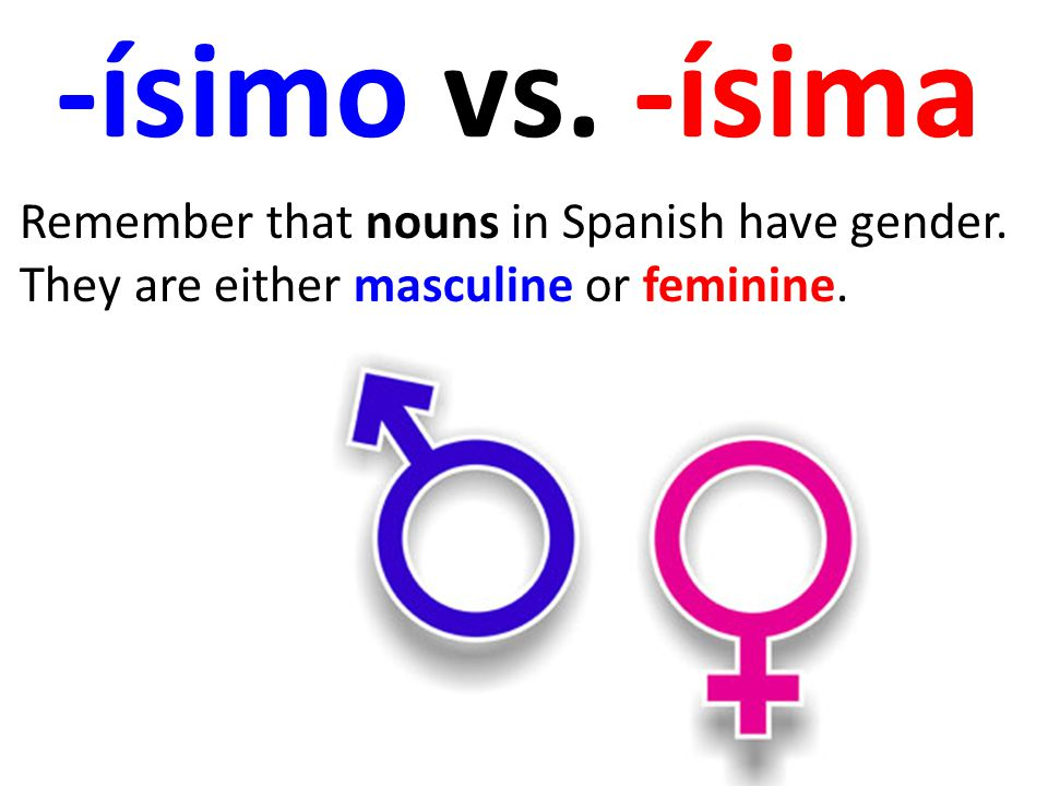 -ísimo vs. -ísima Remember that nouns in Spanish have gender.