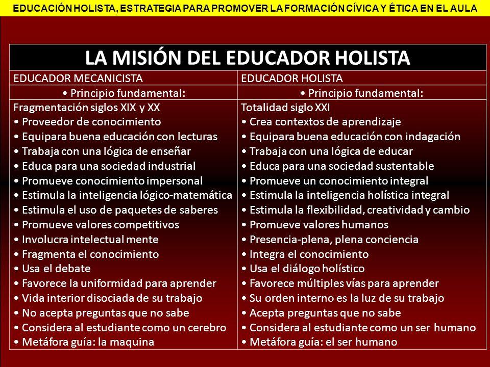 LA MISIÓN DEL EDUCADOR HOLISTA