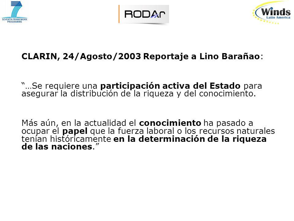 CLARIN, 24/Agosto/2003 Reportaje a Lino Barañao: