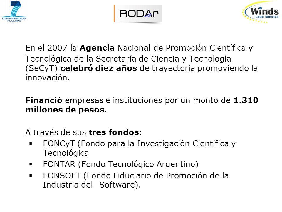 En el 2007 la Agencia Nacional de Promoción Científica y Tecnológica de la Secretaría de Ciencia y Tecnología (SeCyT) celebró diez años de trayectoria promoviendo la innovación.