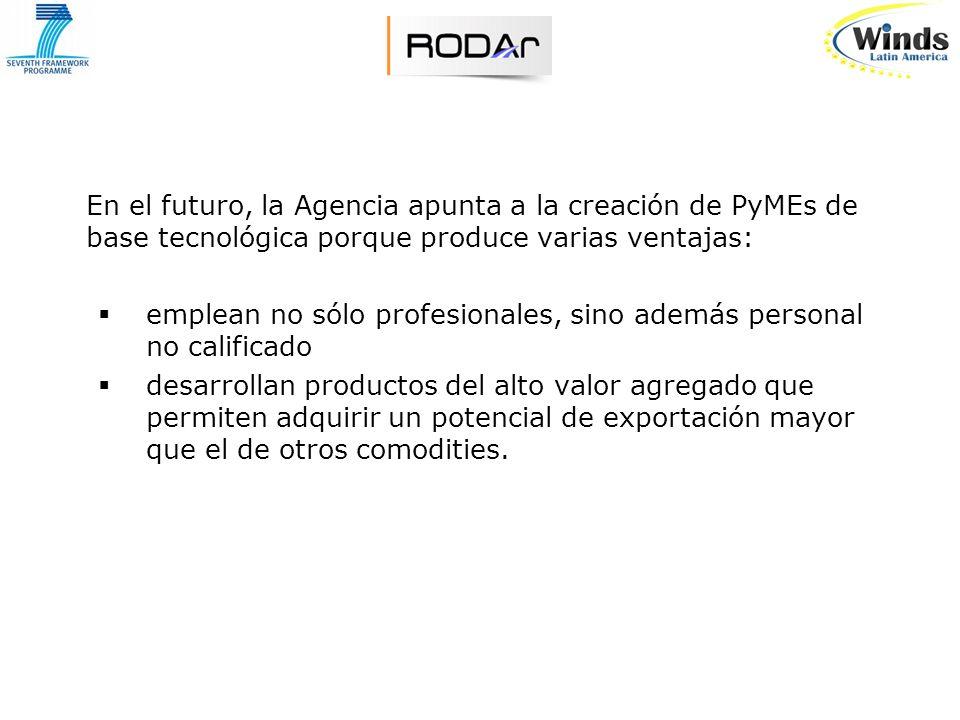 En el futuro, la Agencia apunta a la creación de PyMEs de base tecnológica porque produce varias ventajas: