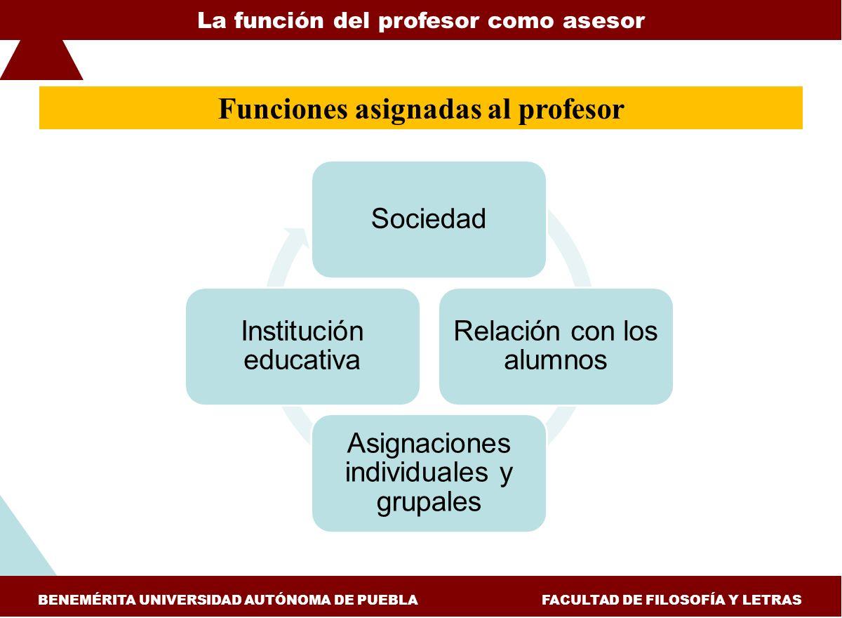 Funciones asignadas al profesor