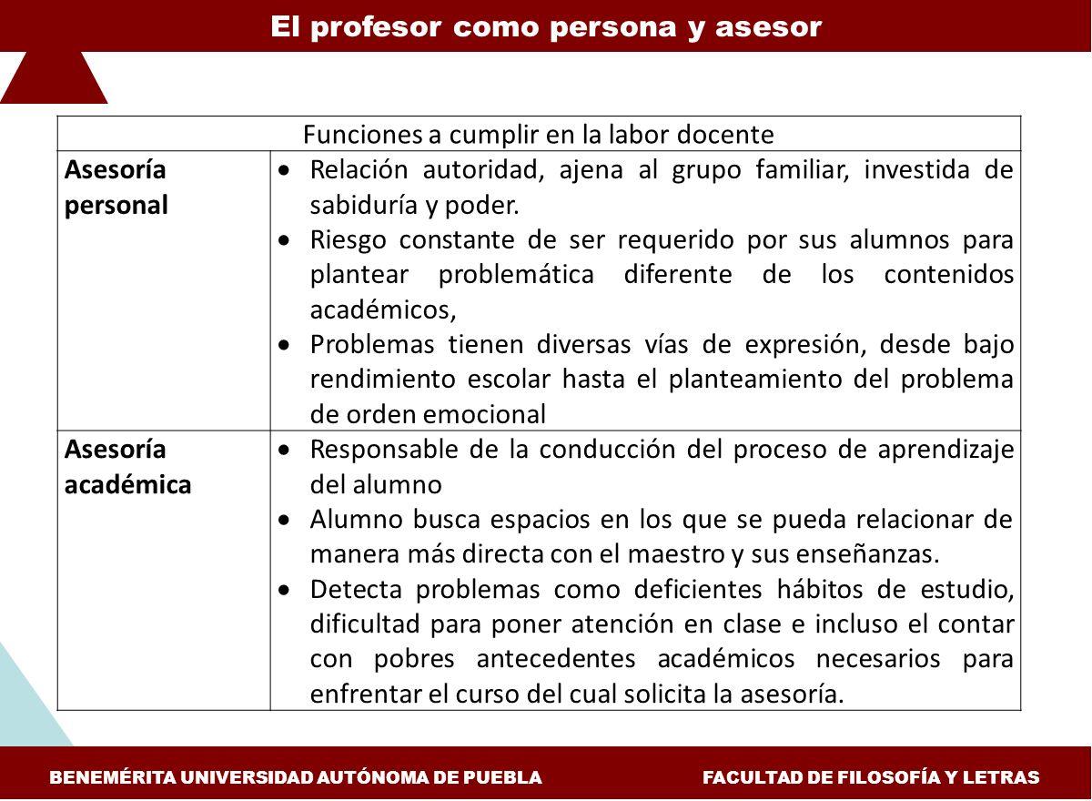 El profesor como persona y asesor