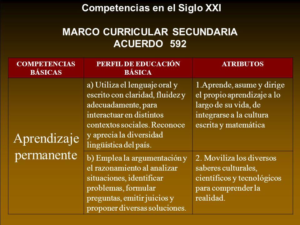 MARCO CURRICULAR SECUNDARIA PERFIL DE EDUCACIÓN BÁSICA