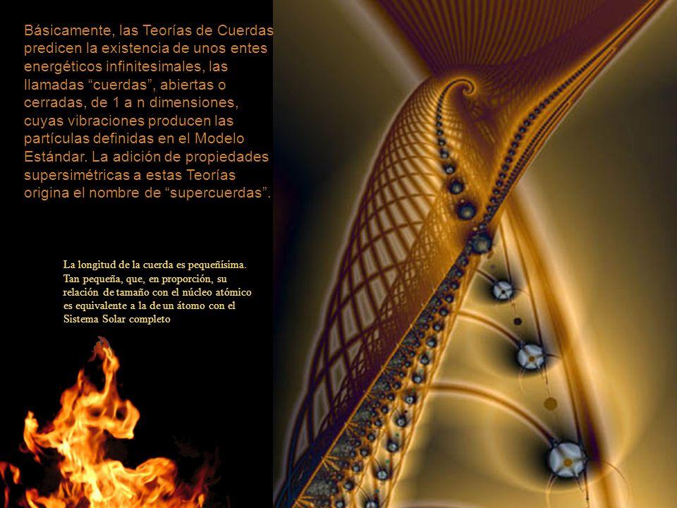Básicamente, las Teorías de Cuerdas predicen la existencia de unos entes energéticos infinitesimales, las llamadas cuerdas , abiertas o cerradas, de 1 a n dimensiones, cuyas vibraciones producen las partículas definidas en el Modelo Estándar. La adición de propiedades supersimétricas a estas Teorías origina el nombre de supercuerdas .