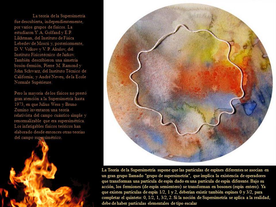 La teoría de la Supersimetría fue descubierta, independientemente, por varios grupos de físicos. La estudiaron Y. A. Golfand y E.P. Likhtman, del Instituto de Física Lebedev de Moscú y, posteriormente, D. V. Volkov y V. P. Akulov, del Instituto Fisicotécnico de Jarkov. También describieron una simetría bosón-fermión, Pierre M. Ramond y John Schwarz, del Instituto Técnico de California; y André Neveu, de la Ecole Normale Supérieure.
