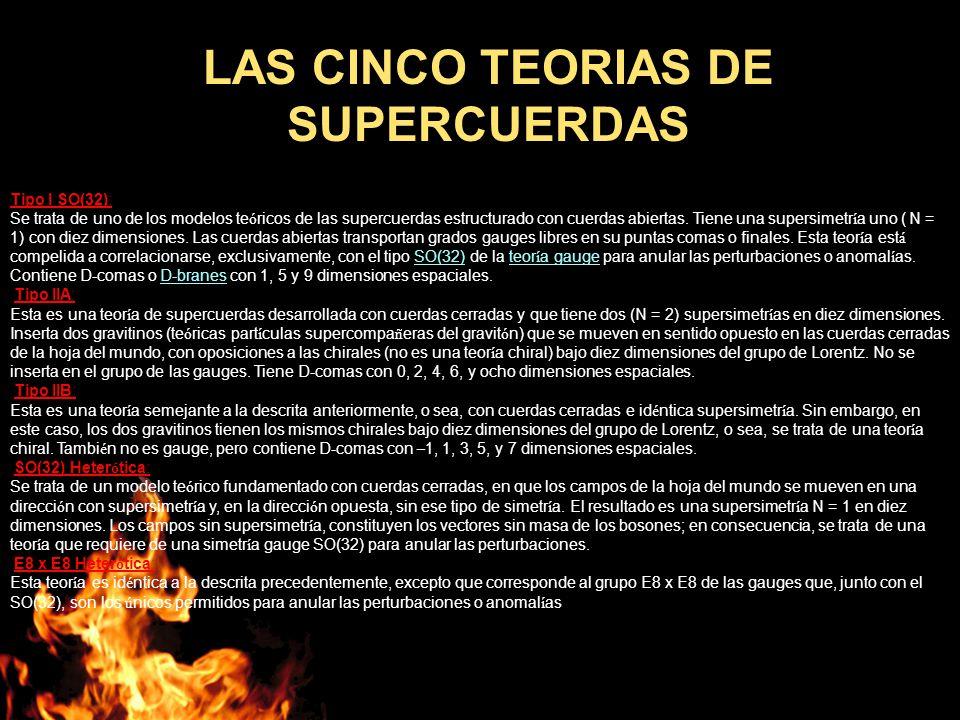 LAS CINCO TEORIAS DE SUPERCUERDAS