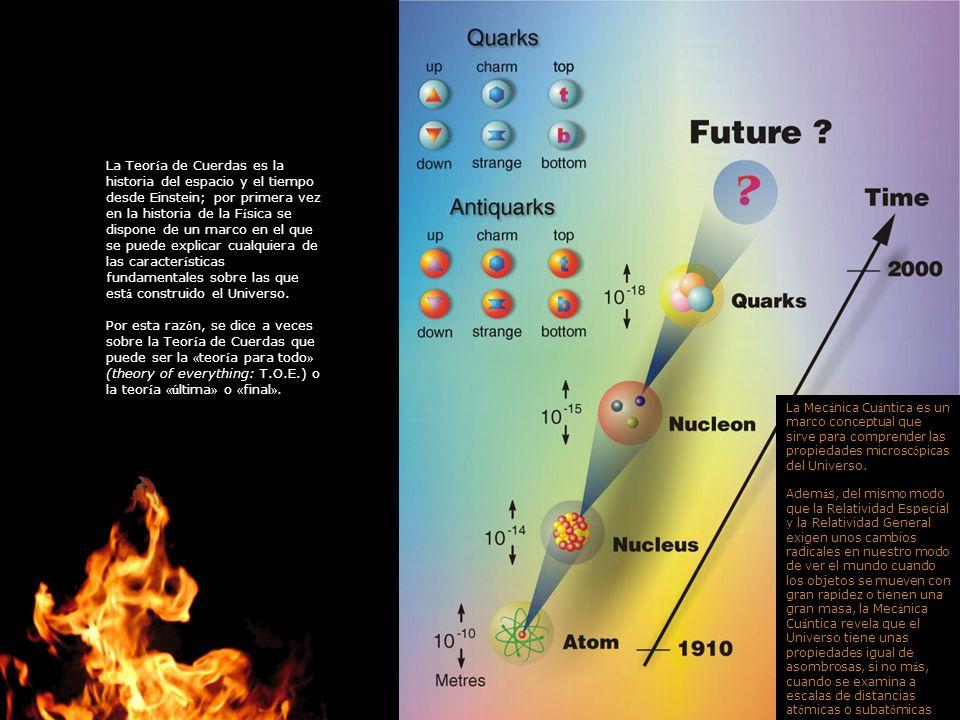 La Teoría de Cuerdas es la historia del espacio y el tiempo desde Einstein; por primera vez en la historia de la Física se dispone de un marco en el que se puede explicar cualquiera de las características fundamentales sobre las que está construido el Universo.