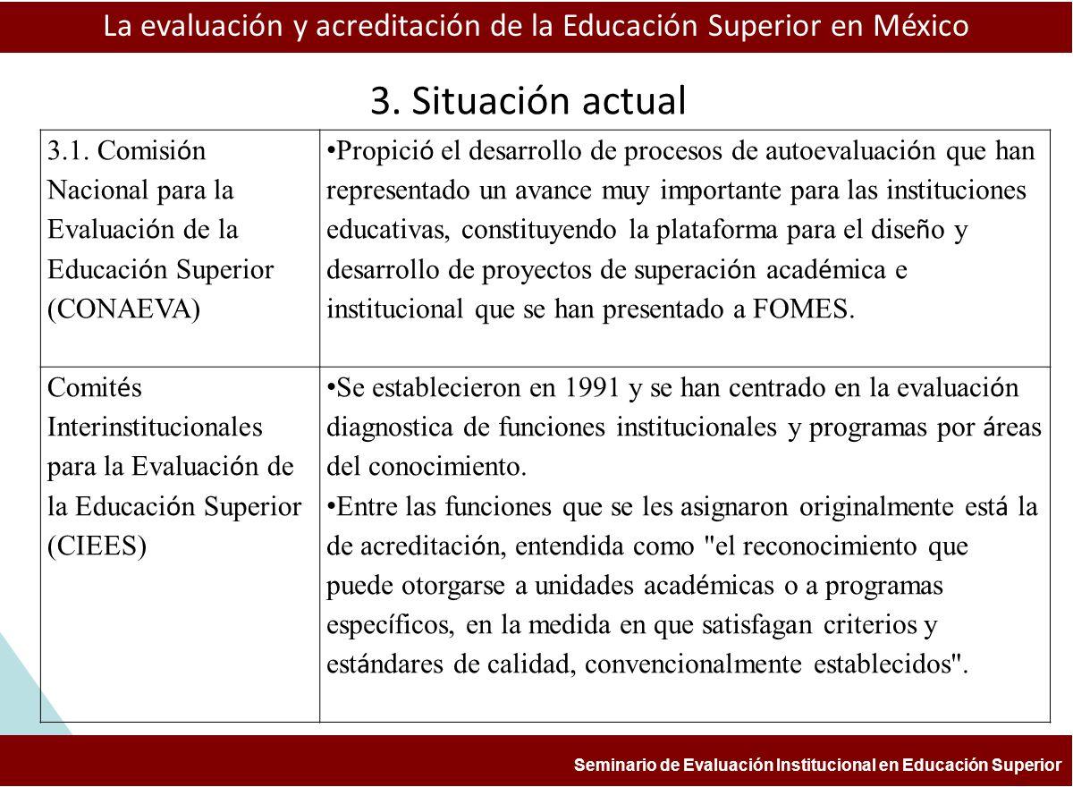 La evaluación y acreditación de la Educación Superior en México