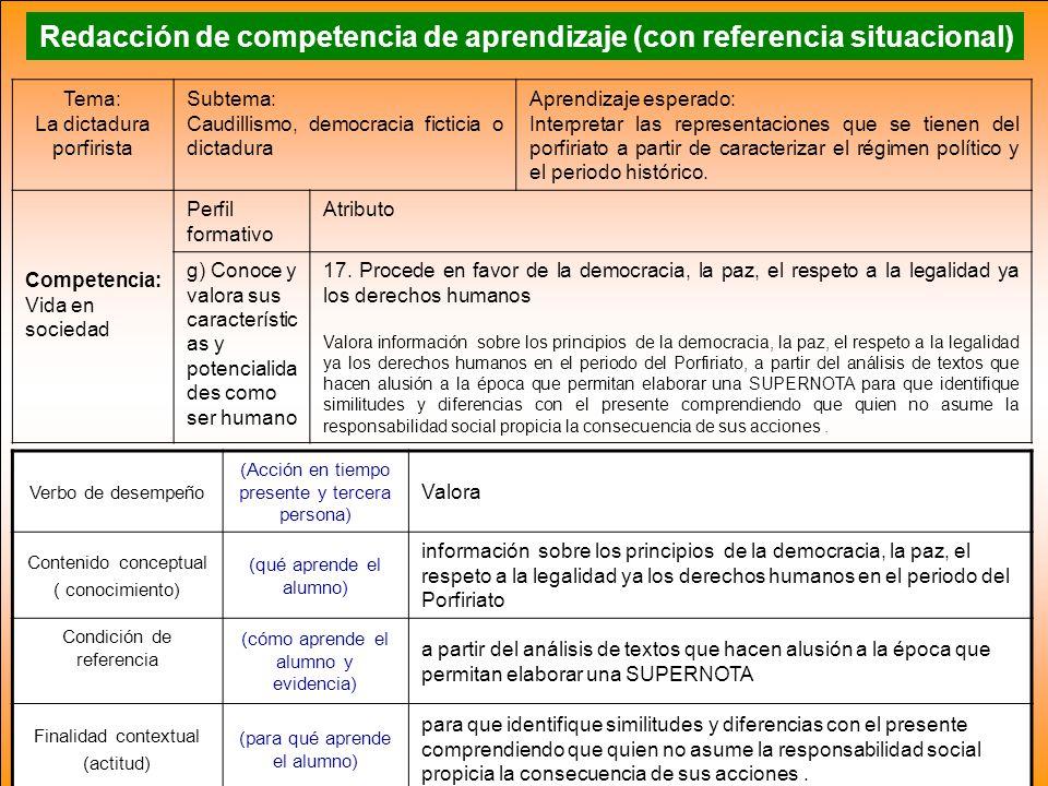 Redacción de competencia de aprendizaje (con referencia situacional)