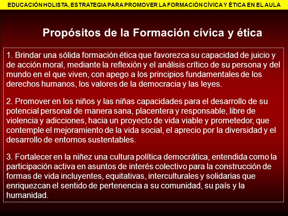 Propósitos de la Formación cívica y ética