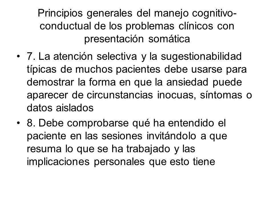 Principios generales del manejo cognitivo-conductual de los problemas clínicos con presentación somática