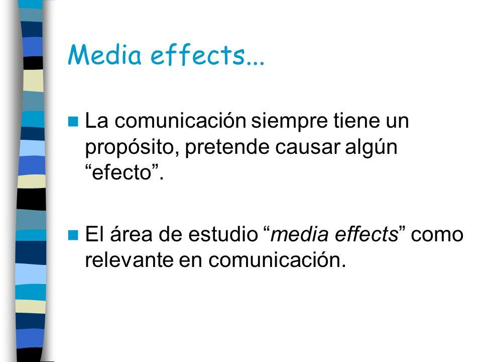 Media effects...La comunicación siempre tiene un propósito, pretende causar algún efecto .