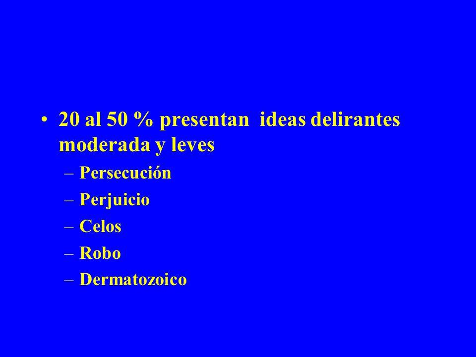 20 al 50 % presentan ideas delirantes moderada y leves