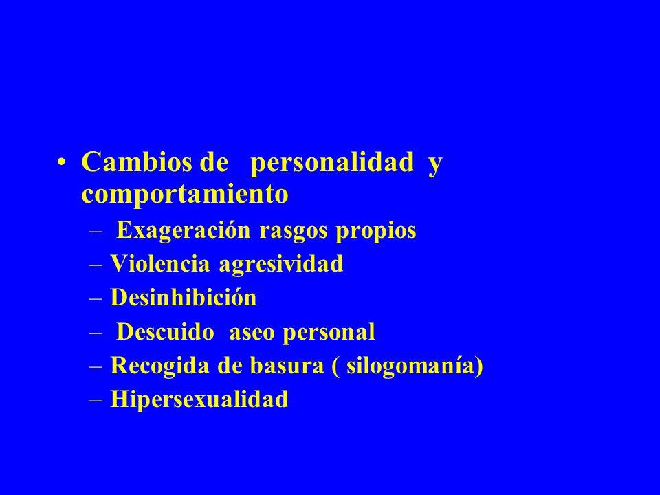 Cambios de personalidad y comportamiento