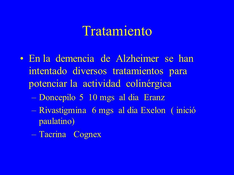 Tratamiento En la demencia de Alzheimer se han intentado diversos tratamientos para potenciar la actividad colinérgica.