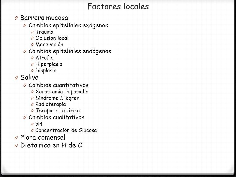 Factores locales Barrera mucosa Saliva Flora comensal