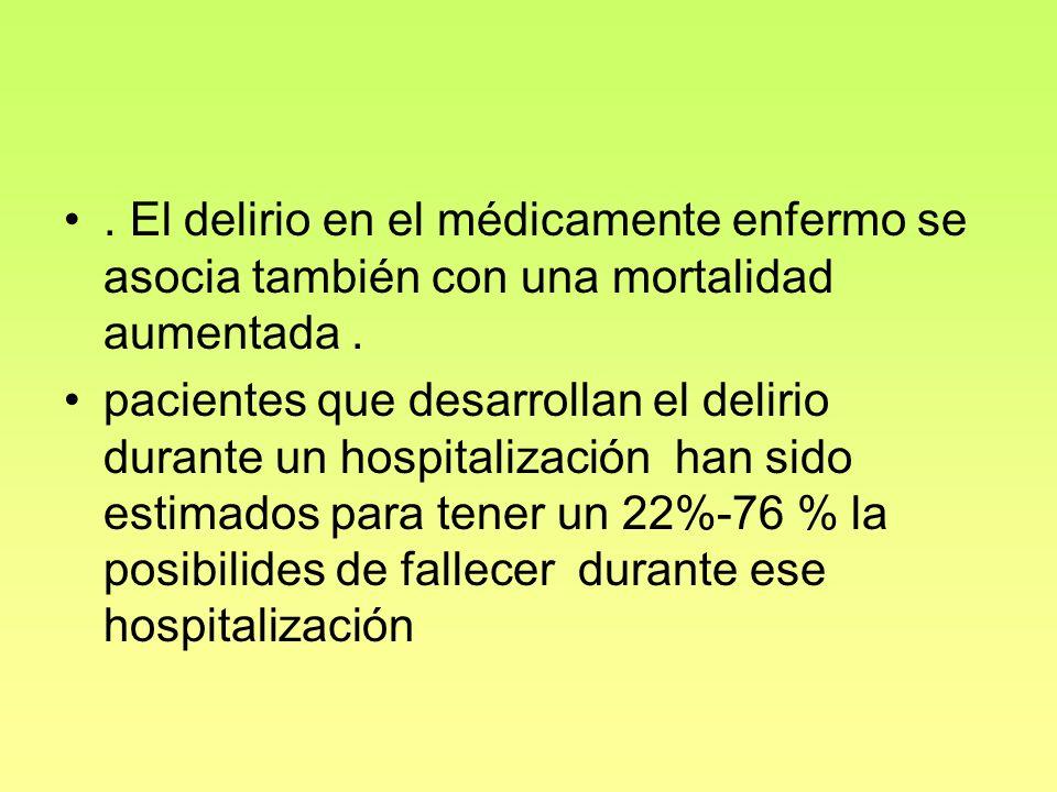 . El delirio en el médicamente enfermo se asocia también con una mortalidad aumentada .