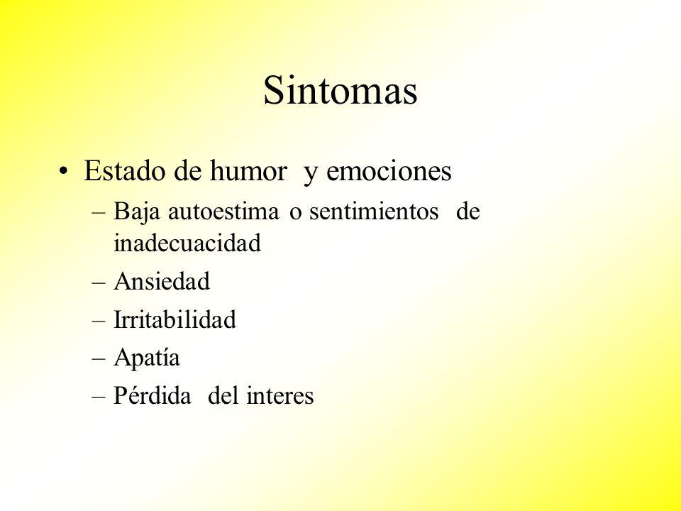 Sintomas Estado de humor y emociones