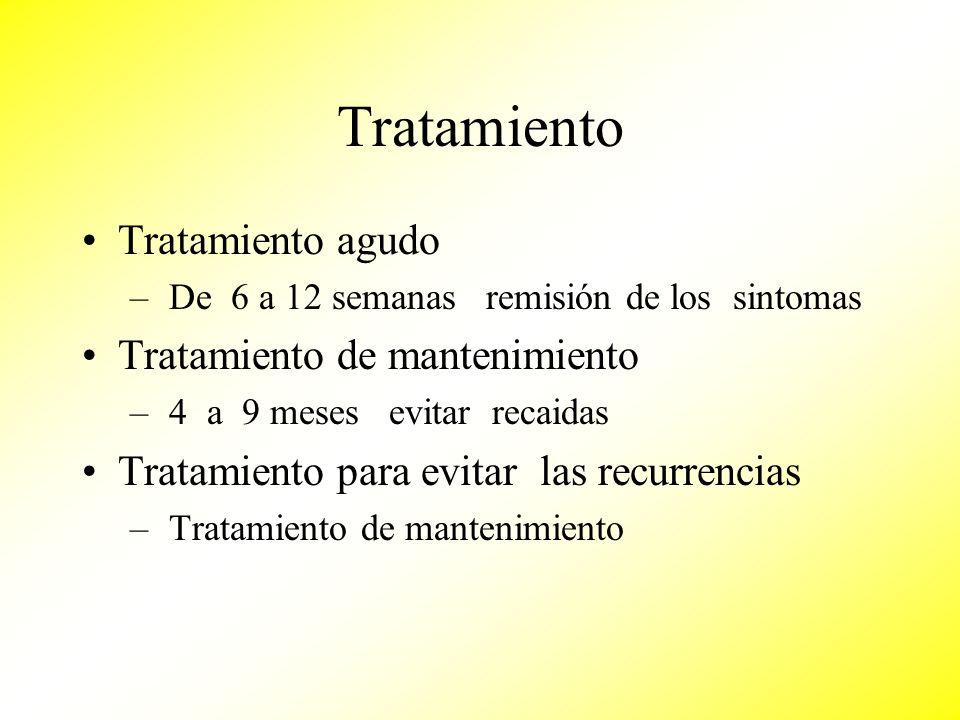 Tratamiento Tratamiento agudo Tratamiento de mantenimiento