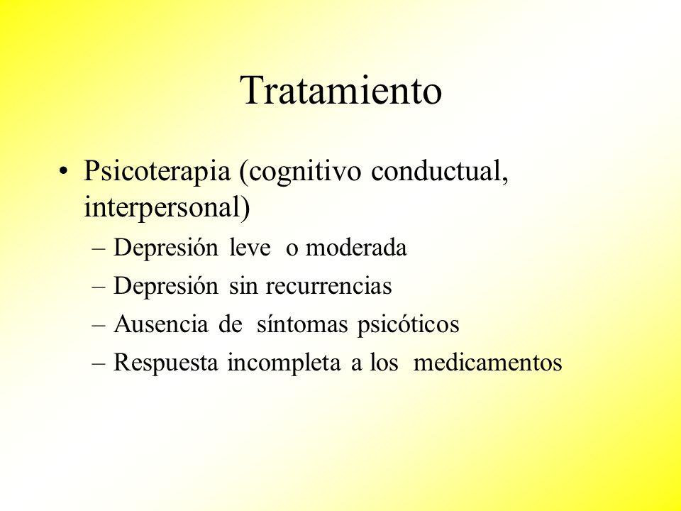 Tratamiento Psicoterapia (cognitivo conductual, interpersonal)