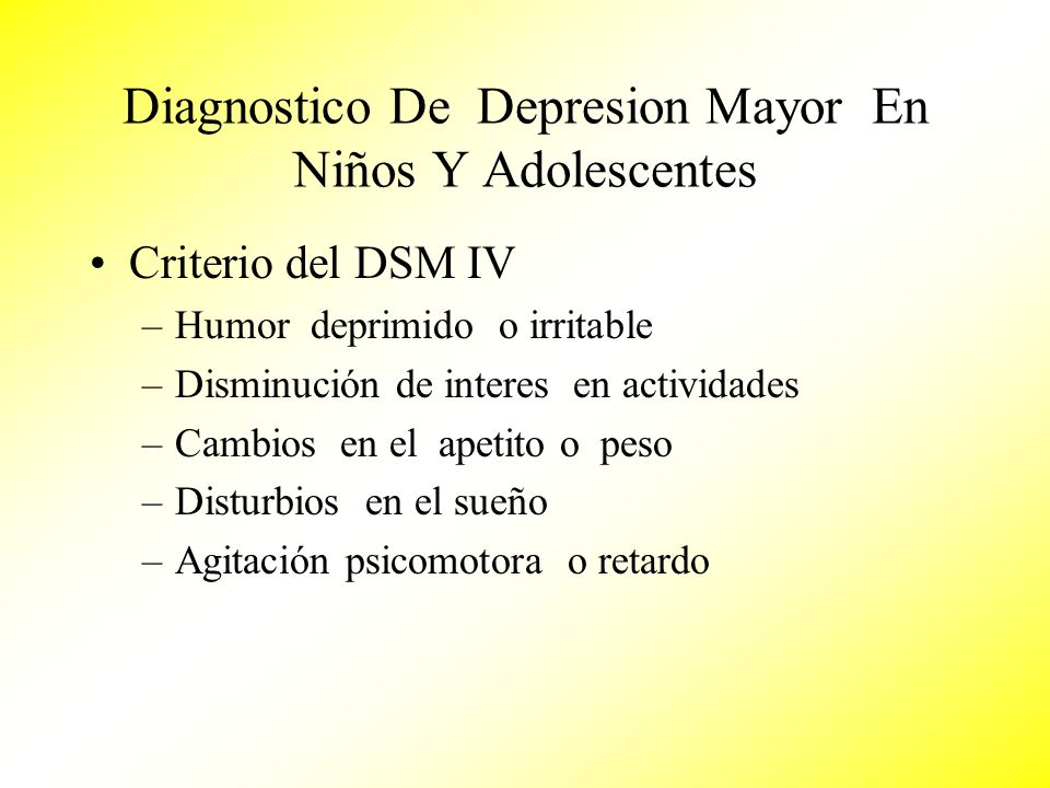 Diagnostico De Depresion Mayor En Niños Y Adolescentes