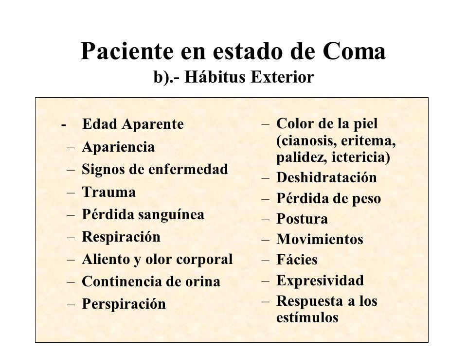 Paciente en estado de Coma b).- Hábitus Exterior