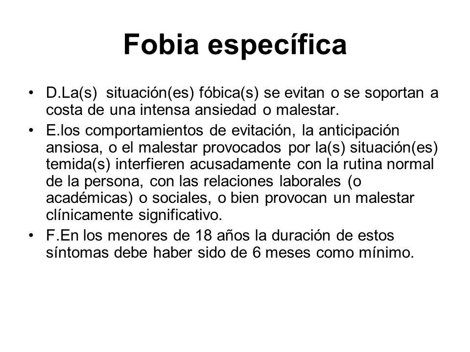 Fobia específica D.La(s) situación(es) fóbica(s) se evitan o se soportan a costa de una intensa ansiedad o malestar.