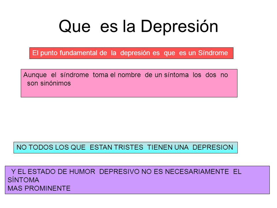 Que es la Depresión El punto fundamental de la depresión es que es un Síndrome.