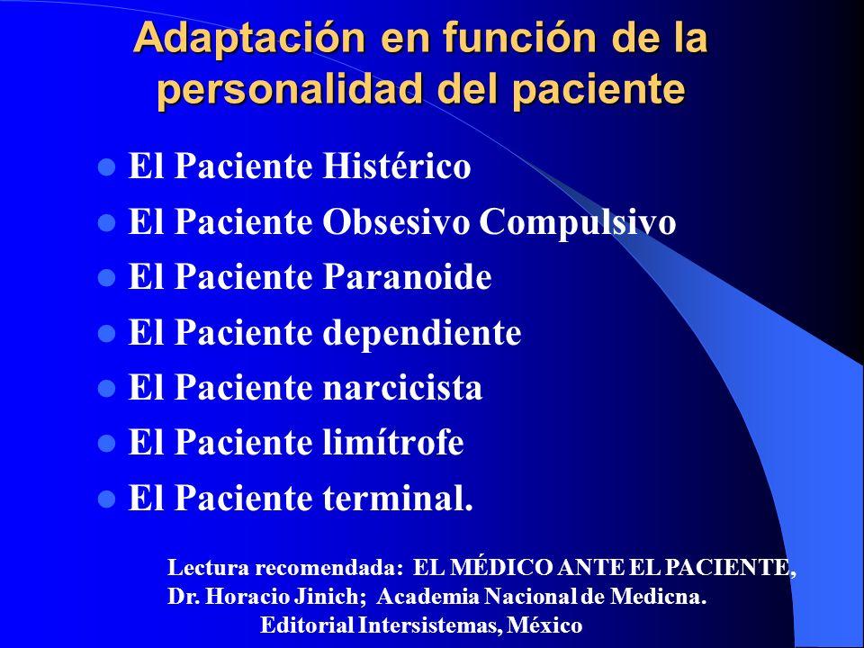 Adaptación en función de la personalidad del paciente