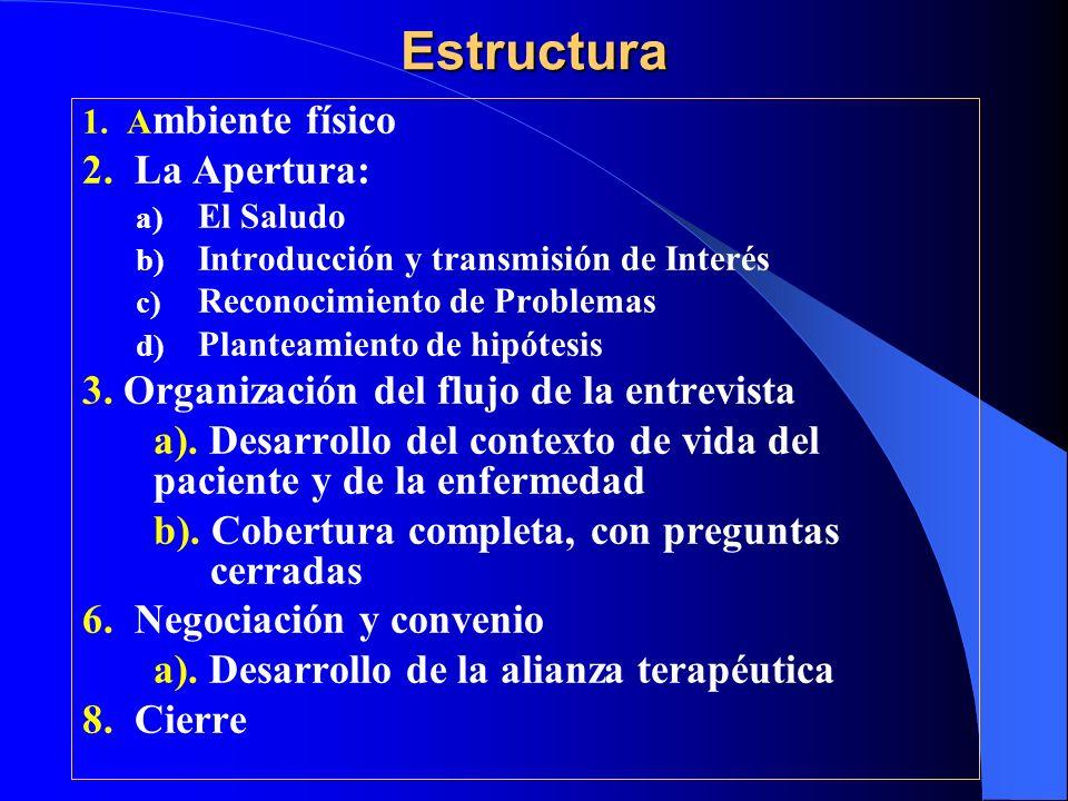 Estructura 2. La Apertura: 3. Organización del flujo de la entrevista