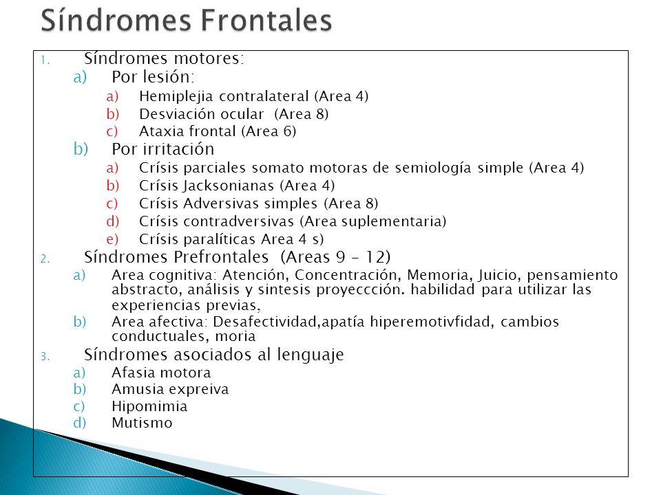 Síndromes Frontales Síndromes motores: Por lesión: Por irritación