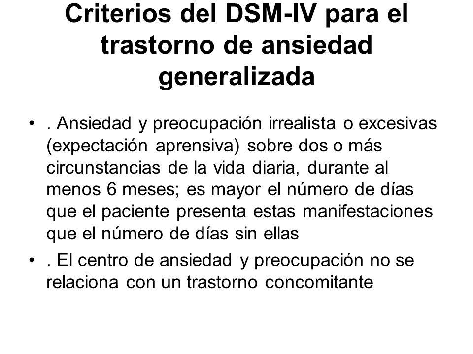 Criterios del DSM-IV para el trastorno de ansiedad generalizada