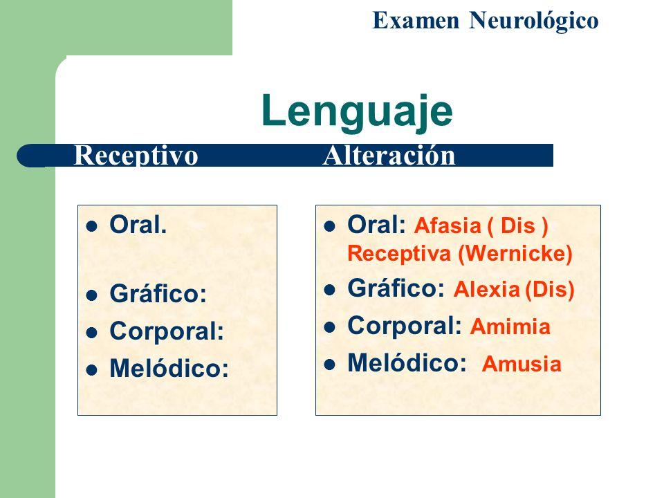 Lenguaje Receptivo Alteración Examen Neurológico Oral. Gráfico: