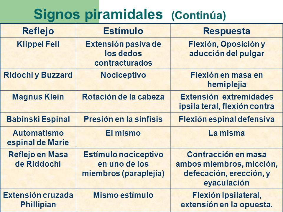 Signos piramidales (Continúa)