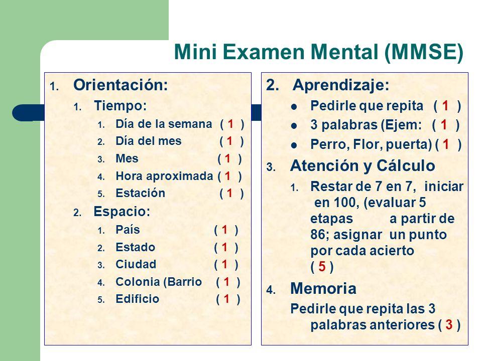 Mini Examen Mental (MMSE)