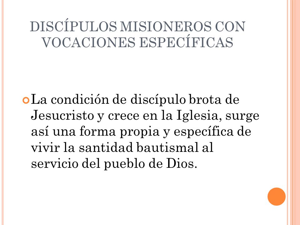DISCÍPULOS MISIONEROS CON VOCACIONES ESPECÍFICAS