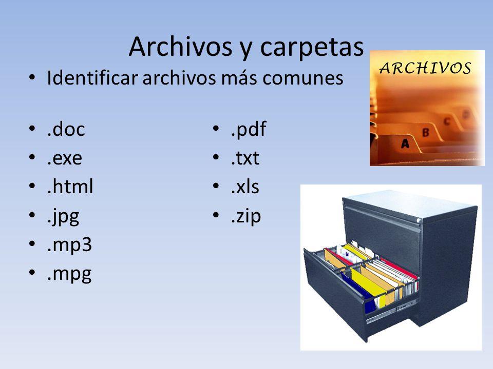 Archivos y carpetas Identificar archivos más comunes .doc .pdf .exe