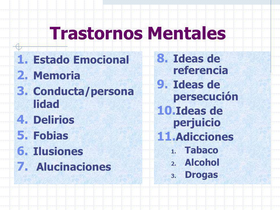 Trastornos Mentales Estado Emocional Memoria Conducta/persona lidad