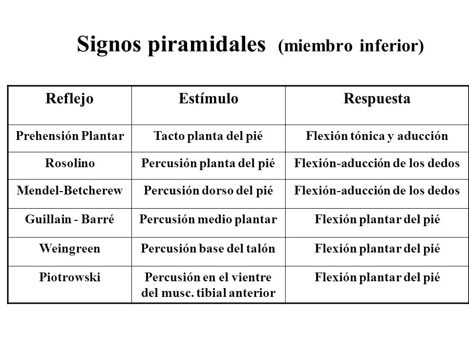 Signos piramidales (miembro inferior)