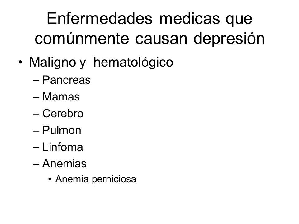 Enfermedades medicas que comúnmente causan depresión