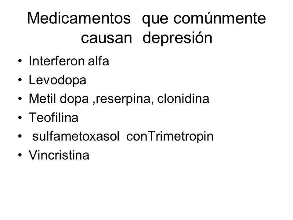 Medicamentos que comúnmente causan depresión