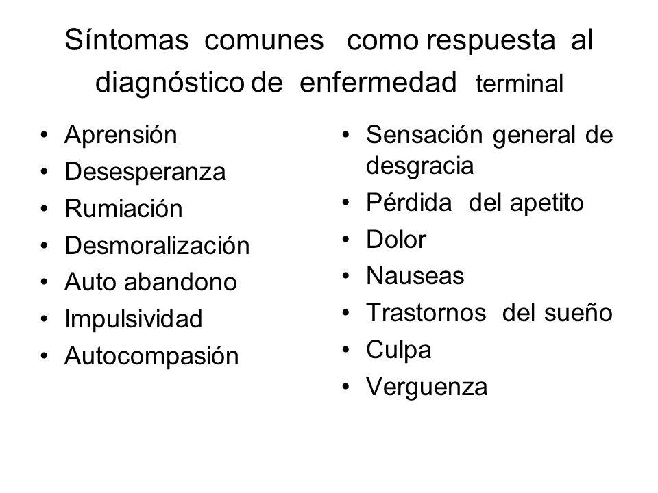 Síntomas comunes como respuesta al diagnóstico de enfermedad terminal
