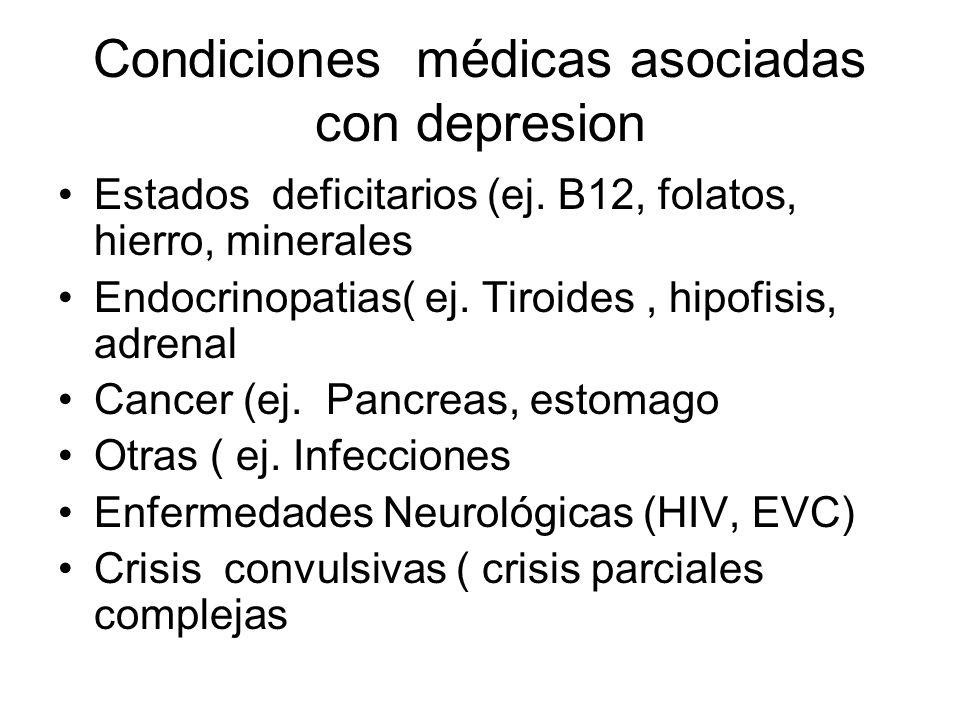 Condiciones médicas asociadas con depresion